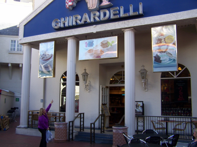 Jo tracked down a Ghirardelli Ice Cream parlor